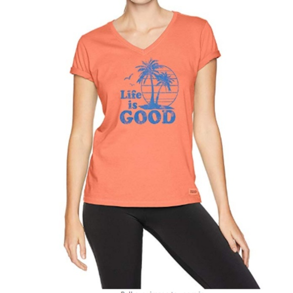 Life Is Good Tops - Life is Good Fresh Coral XXL Vintage Palms T-shirt